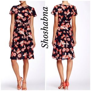 SHOSHANNA SHORT SLEEVE FLORAL SILK MIDI DRESS